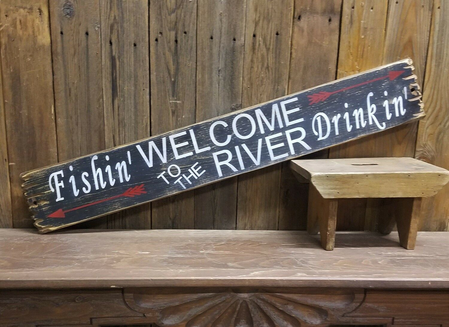 Welcome to the River Fishing Drinking Rustic Wood Sign Cabin Lodge Camping Beer
