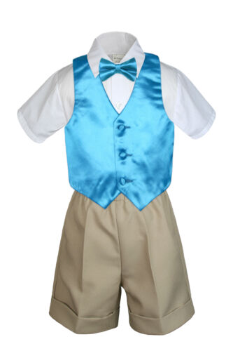 4pc Set Boy Toddler Formal Turquoise Vest and Bow tie White Khaki Shorts S-4T