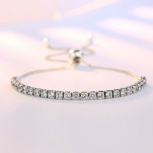 UK-Womens-Ladies-Bracelet-925-Sterling-Silver-Jewellery-Shining-Decoration-Gift
