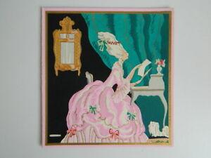 Gravure-ancienne-coloriee-au-pochoir-signee-Edouard-Halouze-c-1930