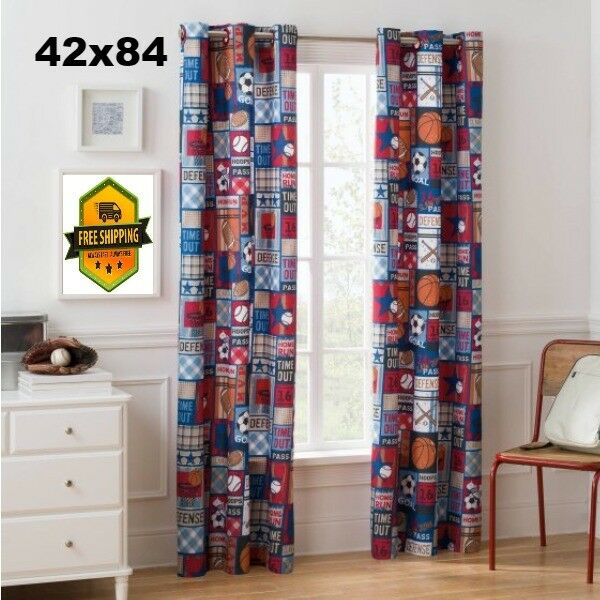 Mainstays Grommet Room Darkening Sports Patch Boys Bedroom Curtain ...