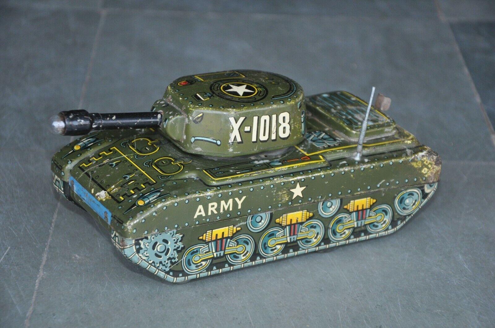 promocionales de incentivo Vintage Batería X-1018 Mt Marca Marca Marca Litografía Army Tank de juguete de estaño, Japón  productos creativos