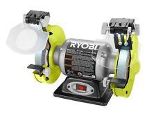 Ryobi 6 Inch Bench Grinder Grinding Wheel LED Light Benchtop Tool Sharpener Rest