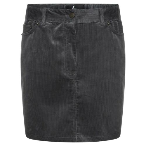 DeMina Womens Ladies Cord Mini Skirt Grey Mink-Dianne