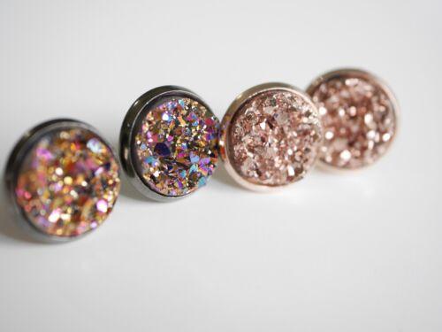 Cabochon Ohrstecker mit Kristallsplitter-Optik 4 Farben Ohrringe