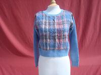 Sachin + Babi 100% Wool Blue Multi-color Ghost Women's Sweater Sz Xs