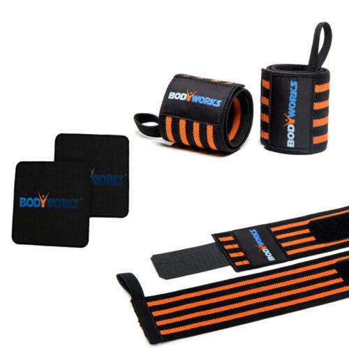 Bodyworks Handgelenkbandage SET mit Griffpolster  Trainings Gym Bodybuilding Set