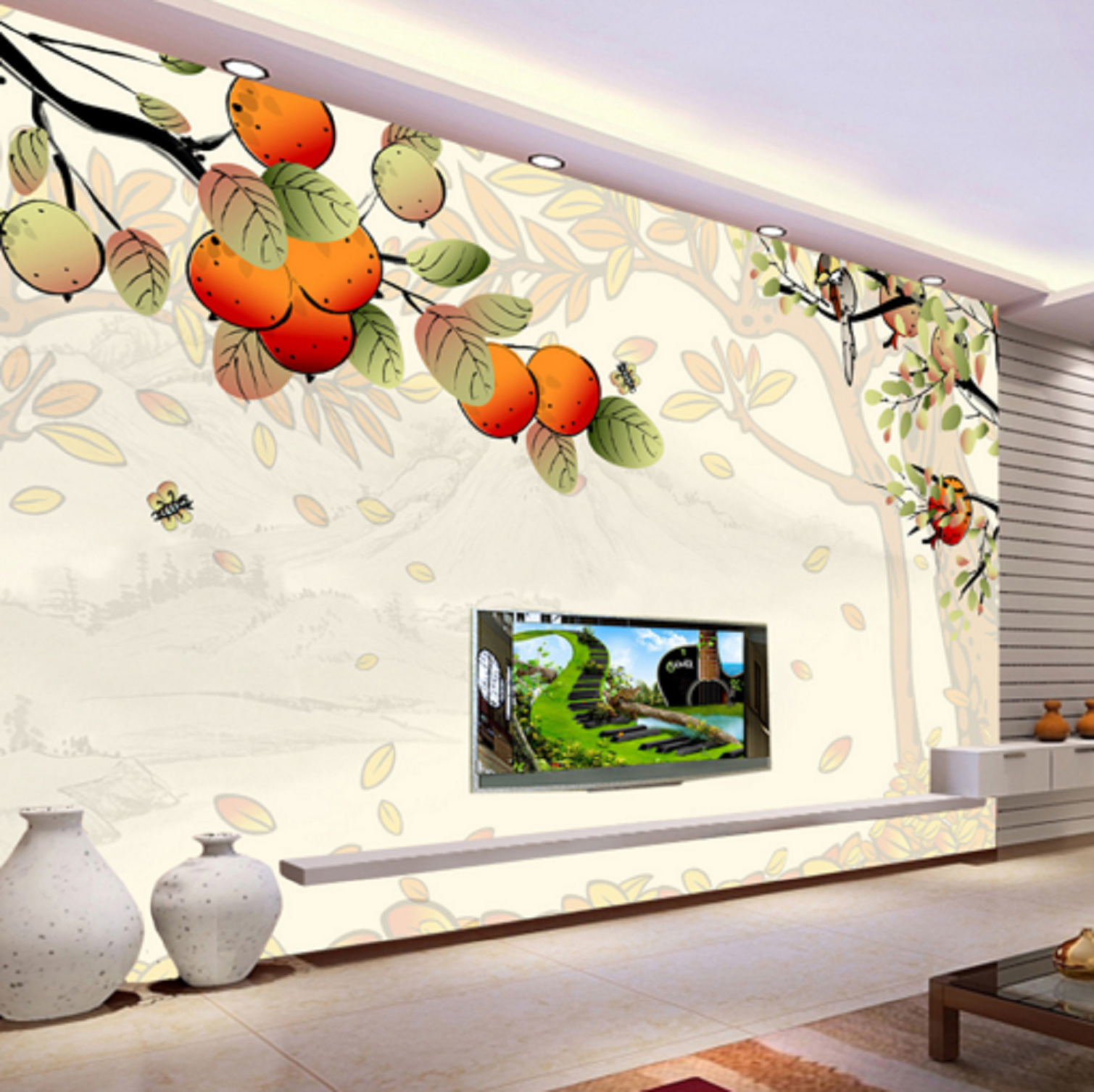 3D Cartoon Orangen Bäume 62 Tapete Tapeten Mauer Foto Familie Tapete Wandgemälde