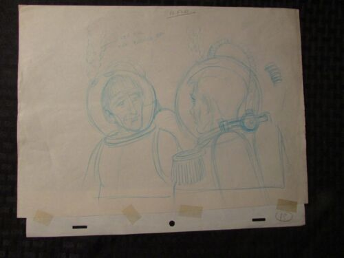 1960's SUBMARINER TV Animation Cartoon Production Art Sc13 2 Divers