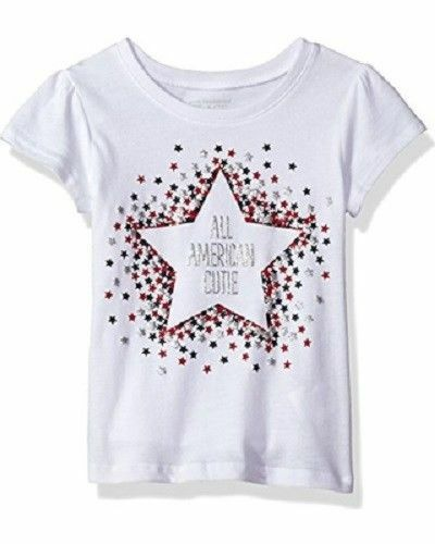 739f83a1 The Childrens Place Baby Toddler Girls Short Sleeve T-shirt, White, 4T