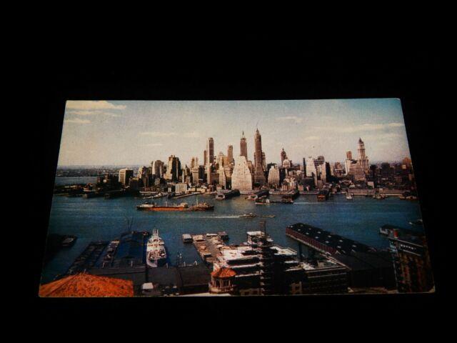Vintage Postcard, NEW YORK CITY, NY,1950's View Of Lower Manhattan Skyline,River