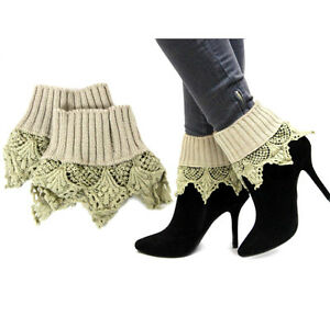 Women Boot Sock Topper Knit Stretchy With Long Lace Boot Top Accessories
