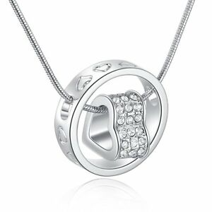 Love Heart Ring Crystal Necklace Xmas Present Gift For Her Wife Girl  Lady