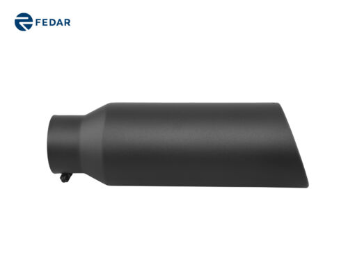 Black 4 inch Inlet 6 Outlet 18 Long Rolled End Angle Cut Exhaust Tip Tail Pipe