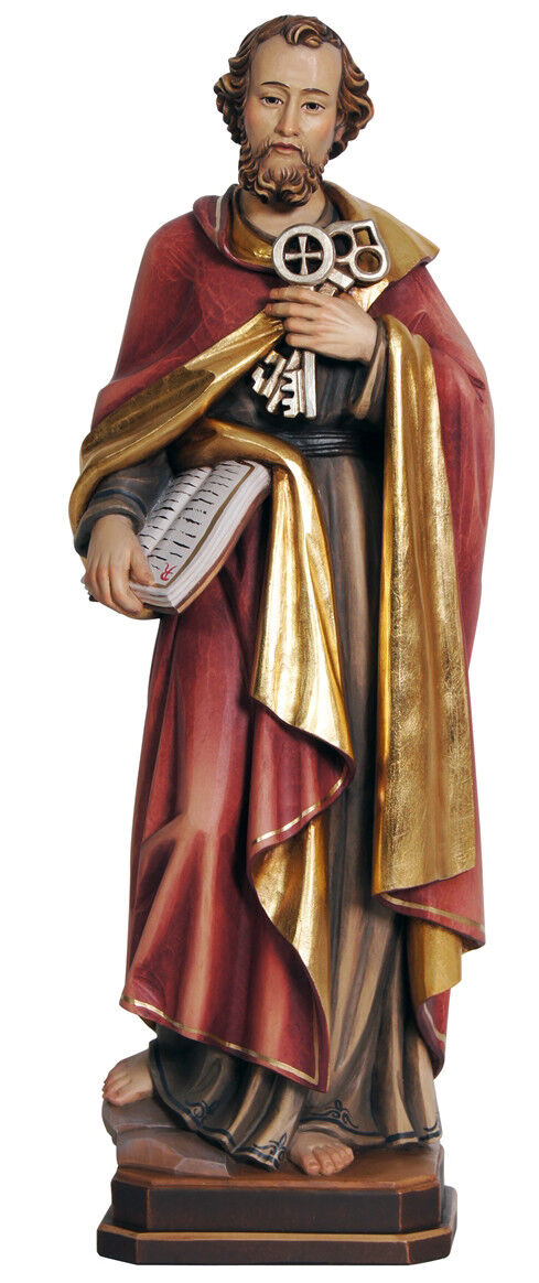 Statue Statue Statue San Pietro Apostel - St. Peter Apostel Holz Geschnitzt Statuen 1bdc55