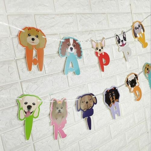 """5M Puppy Dog Paper Letters /"""" HAPPY BIRTHDAY/"""" Set Party Decoration Strip"""