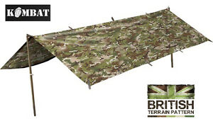 Army-Combat-Military-Tent-Rain-Poncho-Surplus-Basha-Shelter-Waterproof-BTP-DPM