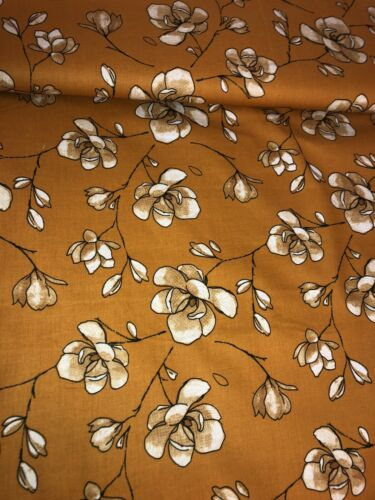 """artesanías 1 MTR Mostaza Grande Flor Flor impresión 100/% Tela De Algodón .45 /""""ancho Vestido"""