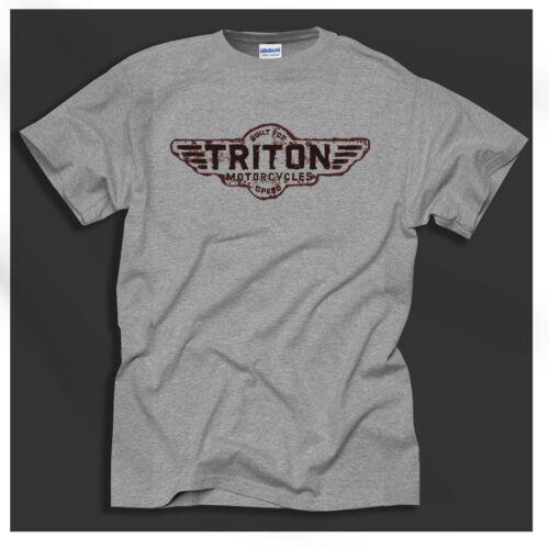 Triton Cafe Racer Norton Triumph British Bike Motorcycle Retro Grey T-Shirt