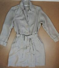 Tommy Bahama 100% Thick Linen belted Trench coat jacket Ladies LG Khaki Tan