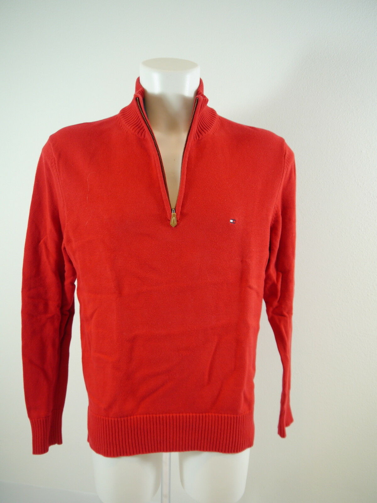 Tommy Hilfiger Pullover Zipp-Stehkragen Baumwolle rot Gr.L