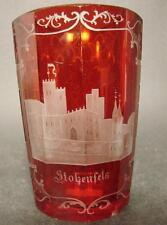 Ansichtenbecher STOLZENFELS - 19. Jh. Mundgeblasenes Glas. Flächenschliff.