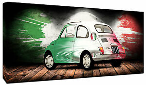 Dettagli Su Quadro Moderno Fiat 500 Italia Arredamento Arredo Casa Arte Vintage Stampa Tela