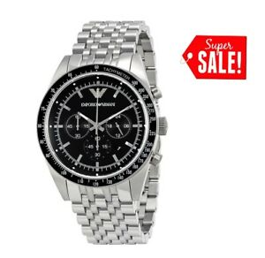 NEW-EMPORIO-ARMANI-AR5988-TAZIO-STAINLESS-STEEL-SILVER-CHRONOGRAPH-WATCH-MEN-039-S