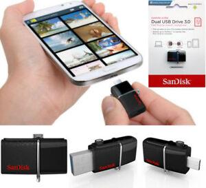SanDisk-32GB-150MBs-Dual-OTG-USB-3-0-Memoria-Chiavetta-Per-Samsung-telefoni