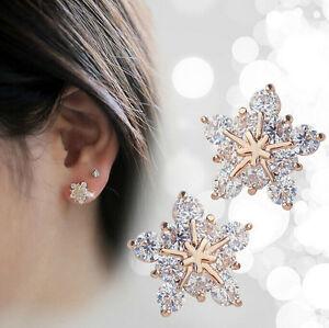 925-Sterling-silver-Ladies-Cute-Snow-Snowflake-Swarovski-Crystal-Stud-Earrings