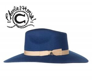 CHARLIE-1-HORSE-Highway-NAVY-Blue-Women-039-s-Wool-Western-Hat-w-Feather