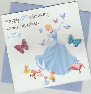 Personalised handmade disney princess cinderella birthday card image is loading personalised handmade disney princess cinderella birthday card daughter bookmarktalkfo Gallery