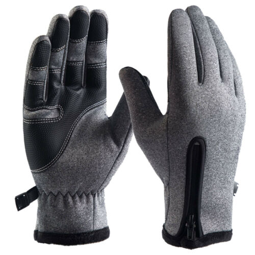 Mens Leather Gloves Thermal Lined Black Brown Motorcycle Cycling Driving Winter
