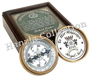 Dollond London Brass Royal Navy Compass Magnetic Maritime With Wooden Storage Maritime Maritime Compasses