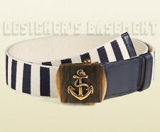 GUCCI navy & ivory Stripe Canvas 36-90 brass ANCHOR Slip buckle Belt NWT Authent