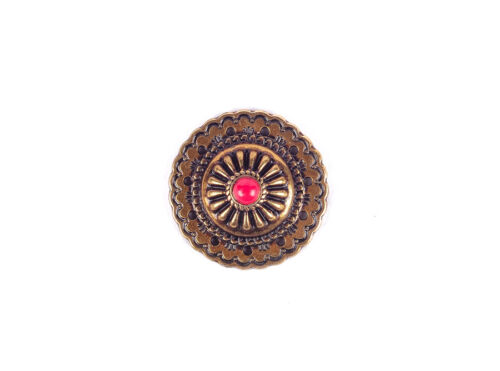 10PC 35X35MM Retro Copper Flower Red Turquoise Western Saddle Screwback Conchos