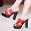 Womens-Peep-Toe-High-Chunky-Heels-Platform-Slipper-Summer-Sandals-Mules-Shoes-GS miniatura 12