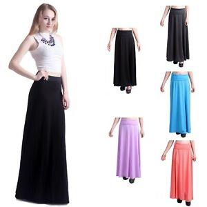 5a5b43b8ba Details about Women's Fashion Solid Jersey Full Length Long Fold Over Spandex  Maxi Skirt Dress