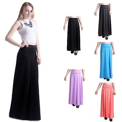 NEW Elegant Maxi Skirt Fashion Waist Foldover Long Lightweight Solid Multi Color