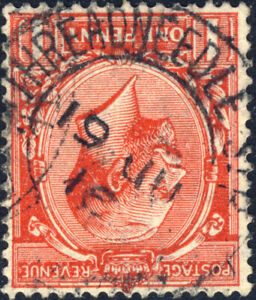 GB-KGV-1916-034-THREADNEEDLE-ST-034-DS-on-SG357-1d-scarlet