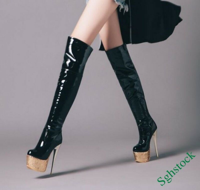 Sexy Sexy Sexy Plataforma de mujer por sobre la rodilla botas Tacones Tacones De Aguja Alto Zapatos De Baile Talla Grande  mejor vendido