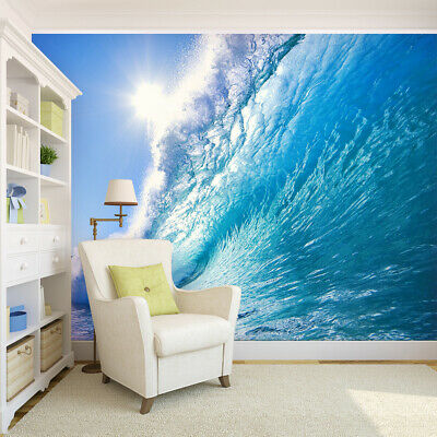 3d Ocean Wave Surfing View Removable Tv Background Self Adhesive Wallpaper Mural Ebay