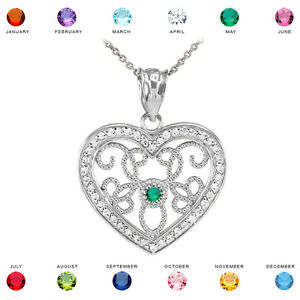 10k white gold filigree heart diamond and personalized stone pendant image is loading 10k white gold filigree heart diamond and personalized mozeypictures Gallery