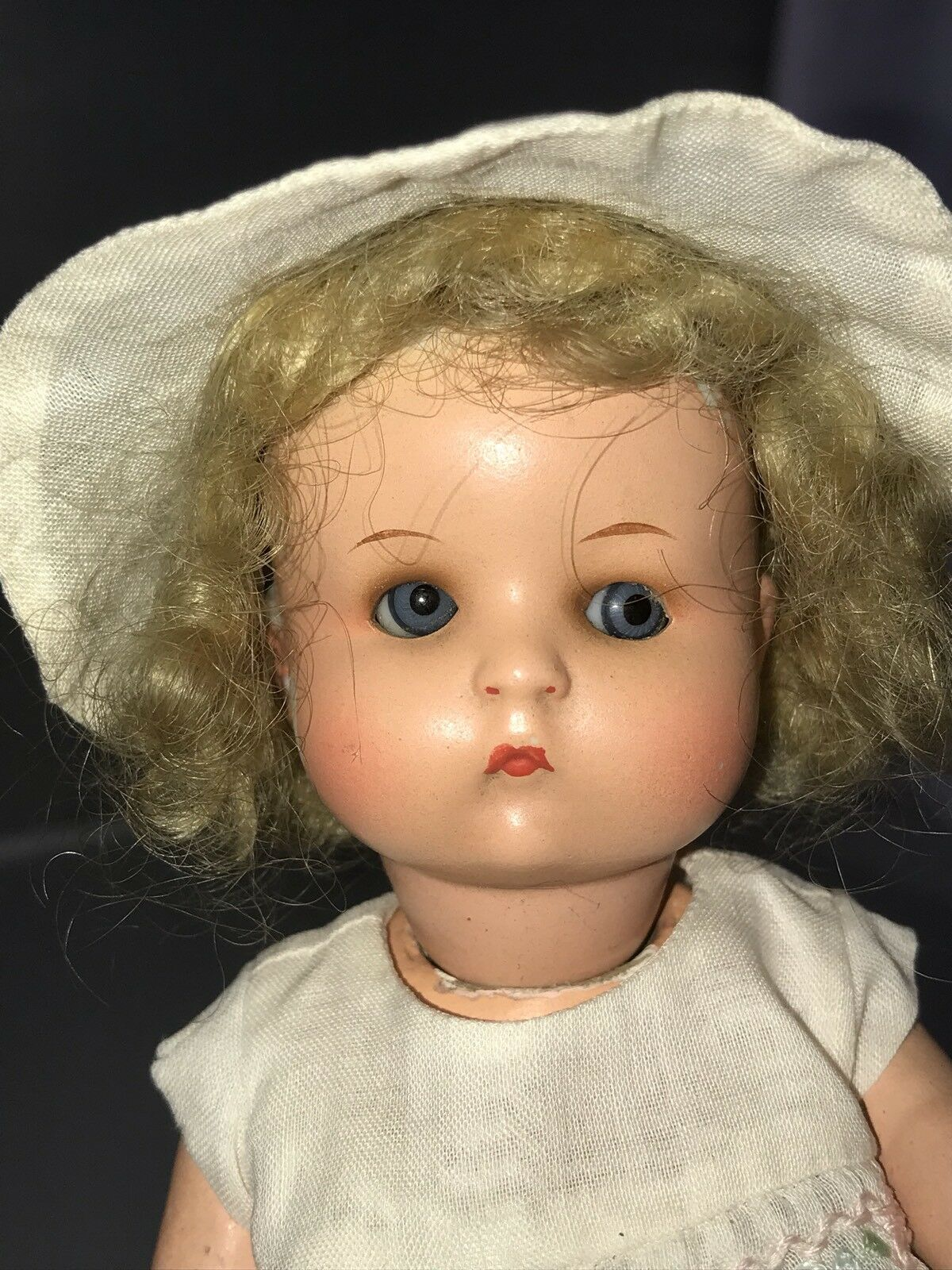 """7"""" Antique German Painted Bisque Head Doll Googly AM JUST ME   Composition"""