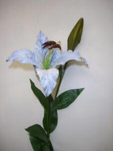 8 stems casablanca lily blue velvet artificial silk flowers image is loading 8 stems casablanca lily 039 blue 039 velvet mightylinksfo