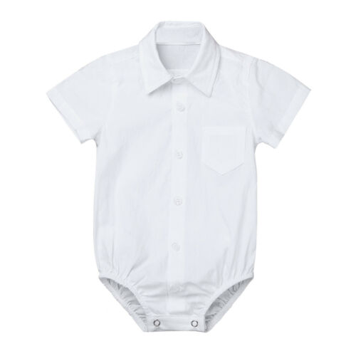 Baby Boys Formal Dress Shirts Gentleman Romper Bodysuit Wedding Party Outfits