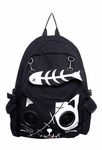 Banned Noir//Blanc Gothique Kitty Cat Speaker étanche Sac à dos Sac à Dos Sac