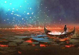 Awesome-Sci-Fi-Boating-Poster-Size-A4-A3-Fantasy-Lava-Art-Poster-Gift-14082