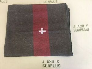 NEW-HD-warm-Swiss-style-Military-Wool-Blanket-Earth-Red-with-embroidered-cross