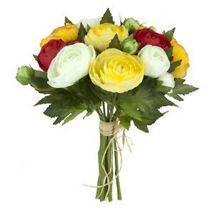 Fleurs Artificielles En Soie Renoncule Bouquet Jaune Orange Cream 10